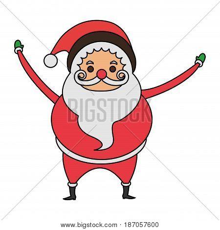 color image cartoon full body fat santa claus vector illustration