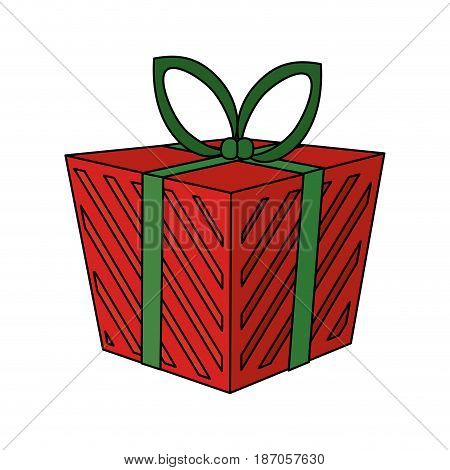 color image cartoon christmas giftbox with wrapping bow vector illustration