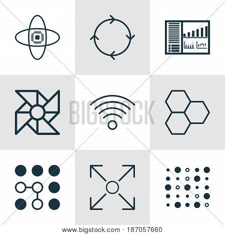 Set Of 9 Robotics Icons. Includes Wireless Communications, Recurring Program, Atomic Cpu And Other Symbols. Beautiful Design Elements.