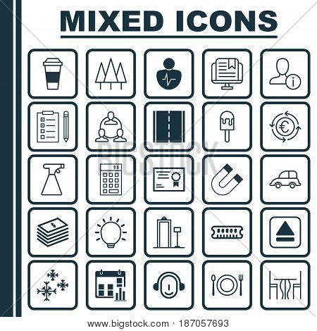 Set Of 25 Universal Editable Icons. Can Be Used For Web, Mobile And App Design. Includes Elements Such As Auto Car, Investment, Teamwork And More.
