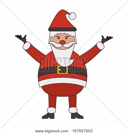 color image cartoon full body fat santa claus modern with long beard vector illustration