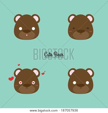 Abstract bear face expression on a blue background