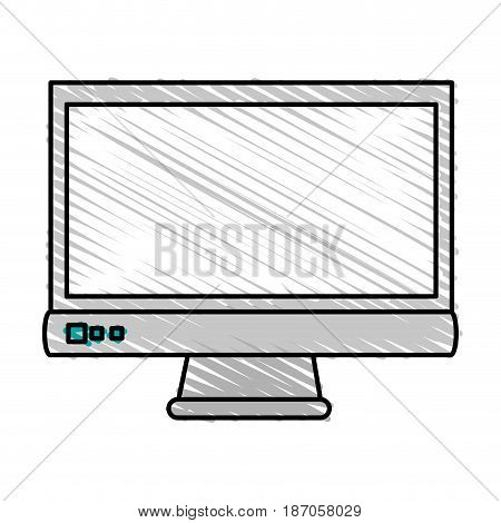 color crayon stripe cartoon front view computer display with buttons vector illustration