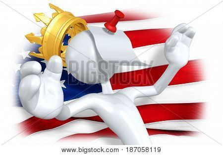 The King Of America With A Memo Pinned To His Head The Original 3D Character Illustration