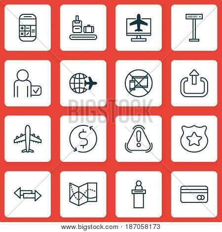 Set Of 16 Travel Icons. Includes Globetrotter, Worldwide Flight, Calculation And Other Symbols. Beautiful Design Elements.