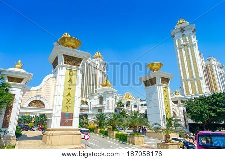 MACAU, CHINA- MAY 11, 2017: Principal entrance of The Luxury dreamy Galaxy Hotel in Macau., this is a major tourist attraction in Macau