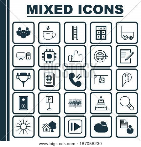 Set Of 25 Universal Editable Icons. Can Be Used For Web, Mobile And App Design. Includes Elements Such As Personal Computer, Bar Graph On Grid, Chip And More.
