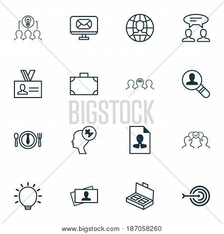 Set Of 16 Business Management Icons. Includes Dialogue, Global Work, Cv And Other Symbols. Beautiful Design Elements.