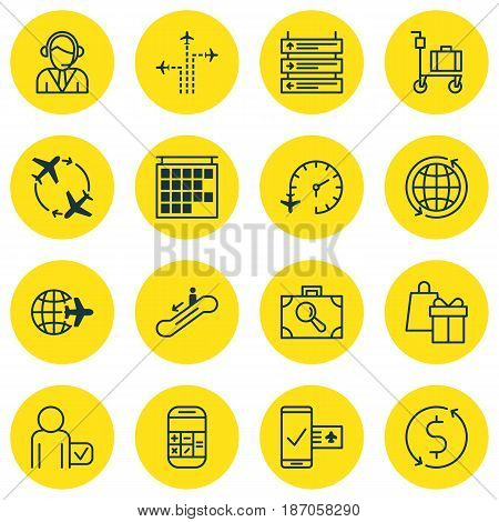 Set Of 16 Traveling Icons. Includes Shopping, Plane Schedule, Departure Information And Other Symbols. Beautiful Design Elements.