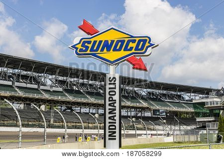 Indianapolis - Circa May 2017: Logo and Signage of Sunoco Fuels on the IMS Infield. Sunoco is a Subsidiary of Energy Transfer Partners VIII
