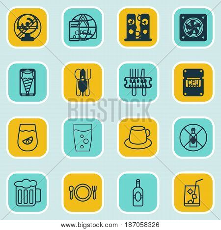 Set Of 16 Restaurant Icons. Includes Cutlery, No Drinking, Stick Batbecue And Other Symbols. Beautiful Design Elements.