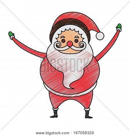 color pencil cartoon full body fat santa claus vector illustration