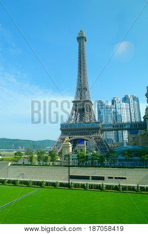 MACAU, CHINA- MAY 11, 2017: Amazing and beautiful Eiffel tower in Parisian Macao with a gorgeous blue sky in a beautiful day.