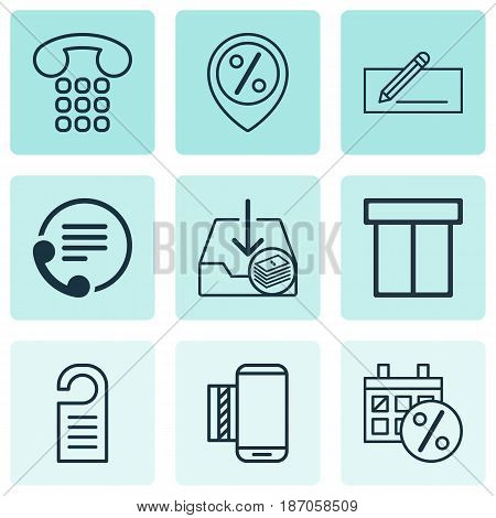 Set Of 9 E-Commerce Icons. Includes Mobile Service, Discount Location, Withdraw Money And Other Symbols. Beautiful Design Elements.