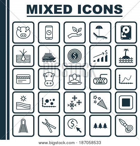 Set Of 25 Universal Editable Icons. Can Be Used For Web, Mobile And App Design. Includes Elements Such As Railway, Clippers, Computer Keypad And More.