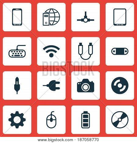 Set Of 16 Computer Hardware Icons. Includes Computer Keypad, Accumulator Sign, Radio Set And Other Symbols. Beautiful Design Elements.