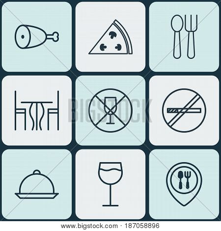 Set Of 9 Food Icons. Includes Cutlery, Dining Room, Fried Poultry And Other Symbols. Beautiful Design Elements.