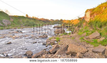 View of the river Tosna at cloud summer evening Leningrad Region Russia.