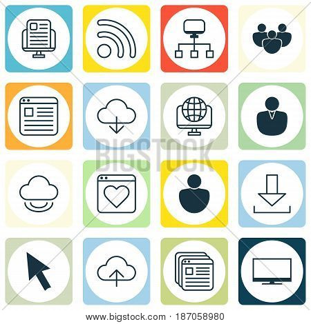 Set Of 16 World Wide Web Icons. Includes Wifi, Login, Followed Website And Other Symbols. Beautiful Design Elements.