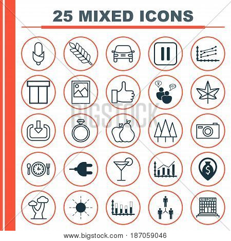 Set Of 25 Universal Editable Icons. Can Be Used For Web, Mobile And App Design. Includes Elements Such As Maize, Forest, Recommended And More.