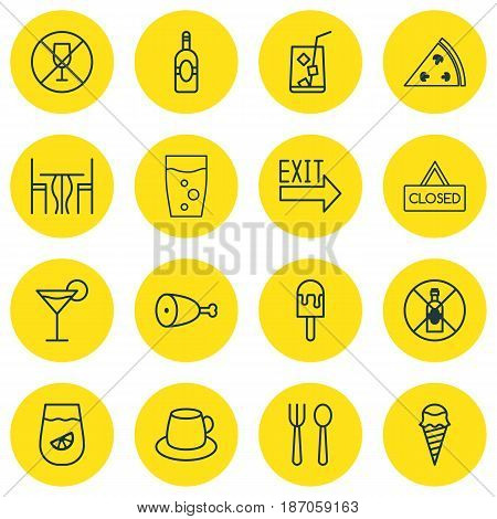 Set Of 16 Restaurant Icons. Includes Alcohol Forbid, Cocktail, Coffee Cup And Other Symbols. Beautiful Design Elements.
