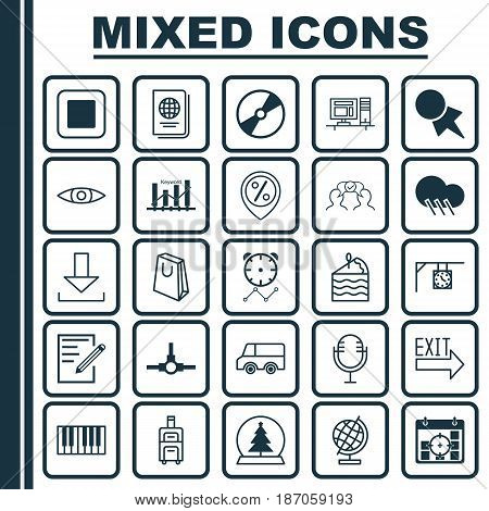 Set Of 25 Universal Editable Icons. Can Be Used For Web, Mobile And App Design. Includes Elements Such As World Sphere, Paper, Cooperation And More.