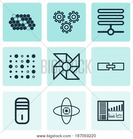 Set Of 9 Robotics Icons. Includes Mainframe, Hive Pattern, Variable Architecture And Other Symbols. Beautiful Design Elements.