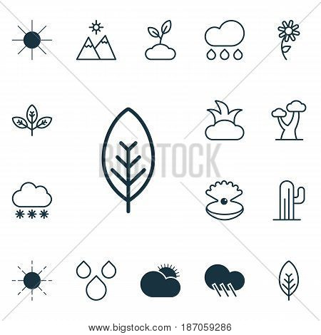 Set Of 16 Landscape Icons. Includes Water Drops, Sun, Snowstorm And Other Symbols. Beautiful Design Elements.