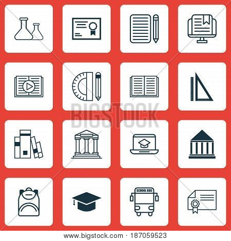 Set Of 16 School Icons. Includes Graduation, Home Work, Taped Book And Other Symbols. Beautiful Design Elements.