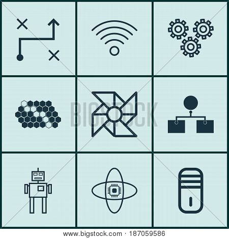 Set Of 9 Robotics Icons. Includes Laptop Ventilator, Atomic Cpu, Cyborg And Other Symbols. Beautiful Design Elements.