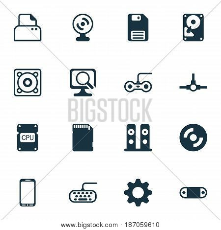Set Of 16 Computer Hardware Icons. Includes Smartphone, Laptop, Joystick And Other Symbols. Beautiful Design Elements.
