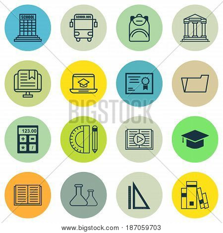 Set Of 16 Education Icons. Includes Graduation, Taped Book, E-Study And Other Symbols. Beautiful Design Elements.