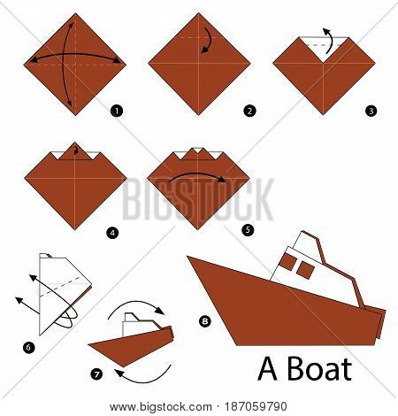 step by step instructions how to make origami a boat.