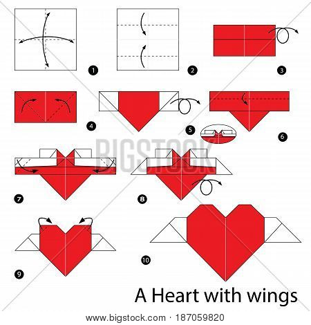 step by step instructions how to make origami a heart with wings.