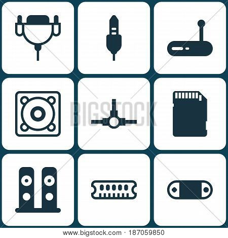 Set Of 9 Computer Hardware Icons. Includes Vga Cord, Music, Aux Cord And Other Symbols. Beautiful Design Elements.