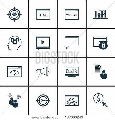 Set Of 16 Marketing Icons. Includes Security, Keyword Marketing, Conference And Other Symbols. Beautiful Design Elements.