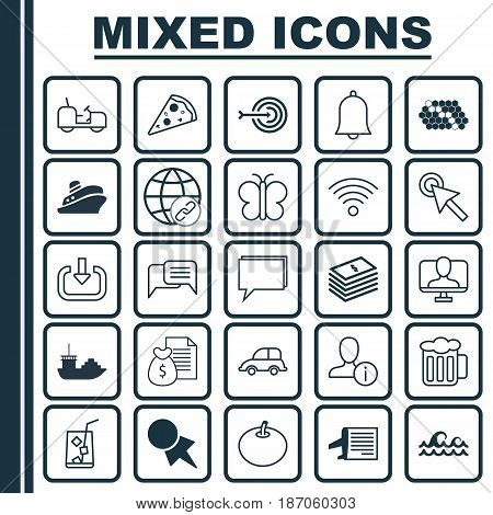 Set Of 25 Universal Editable Icons. Can Be Used For Web, Mobile And App Design. Includes Elements Such As Enter, Alert, Wireless Communications And More.