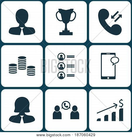 Set Of 9 Human Resources Icons. Includes Phone Conference, Business Woman, Manager And Other Symbols. Beautiful Design Elements.