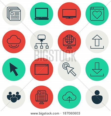 Set Of 16 Web Icons. Includes Computer Network, Program, Website Bookmarks And Other Symbols. Beautiful Design Elements.
