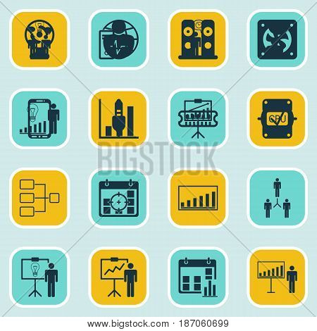 Set Of 16 Executive Icons. Includes Company Statistics, System Structure, Solution Demonstration And Other Symbols. Beautiful Design Elements.