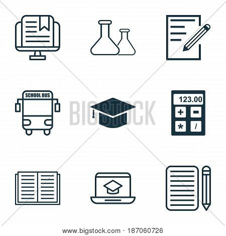 Set Of 9 Education Icons. Includes Transport Vehicle, Graduation, Chemical And Other Symbols. Beautiful Design Elements.
