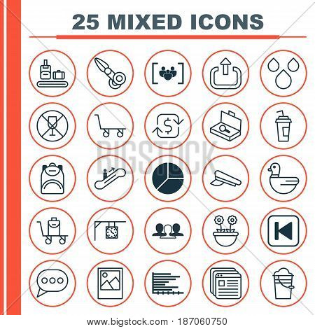 Set Of 25 Universal Editable Icons. Can Be Used For Web, Mobile And App Design. Includes Elements Such As Website Bookmarks, Moving Staircase, Clippers And More.