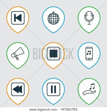 Set Of 9 Audio Icons. Includes Dance Club, Bullhorn, Mute Song And Other Symbols. Beautiful Design Elements.