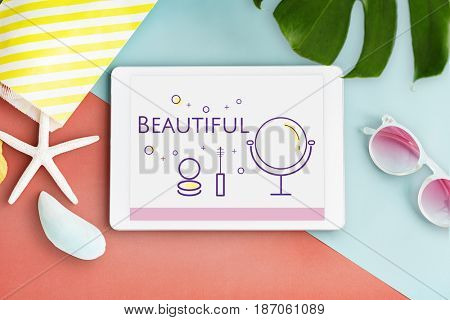 Illustration of beauty cosmetics makeover skincare on digital tablet