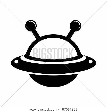 Vector Cartoon Flying saucer UFO with antenna and glass dome