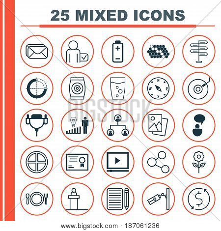 Set Of 25 Universal Editable Icons. Can Be Used For Web, Mobile And App Design. Includes Elements Such As Fertilizer, Hive Pattern, Publication And More.