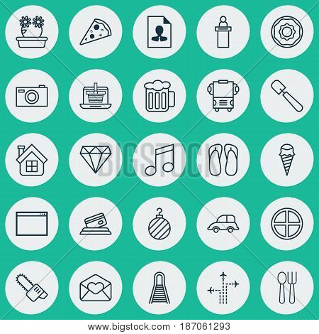 Set Of 25 Universal Editable Icons. Can Be Used For Web, Mobile And App Design. Includes Elements Such As Transport, Digital Camera, Credit Card And More.