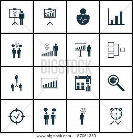Set Of 16 Authority Icons. Includes Personal Character, System Structure, Project Analysis And Other Symbols. Beautiful Design Elements.