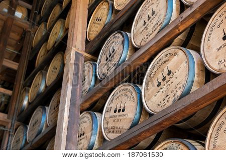Versailles Kentucky United States: May 3rd 2017: Angled View of Aging Bourbon at Woodford Reserve During Distillry Tour