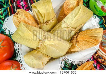 Mexican Tamales Made Of Corn And Chicken